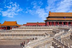 Free Crowds In Front Of An Internal Red Gate With Orange Roofs Of The Palace Museum, Known As The Forbidden City, In Beijing Stock Image - 152227761