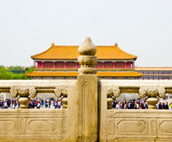 Crowds inside Beijing Forbidden City Royalty Free Stock Photo