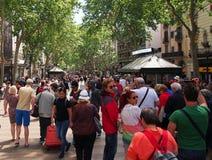 Crowds, La Rambla, Barcelona Royalty Free Stock Photos
