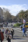 Crowds on Las Ramblas. Barcelona. Spain Royalty Free Stock Photography