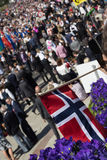 Crowds lining the street for the children`s parade on Norway`s National Day, 17th of May Stock Photo