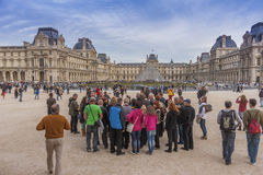 Crowds at the Louvre. Crowds of people at the Louvre museum in Paris in October Stock Photos