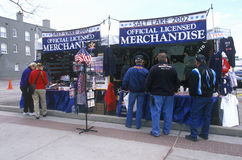 Crowds milling around Olympic merchandise stand during 2002 Winter Olympics, Salt Lake City, UT Royalty Free Stock Photo