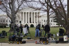 Crowds of mourners and media in front of the Supreme Court building where late Justice Antonin Scalia lays in repose royalty free stock photo