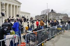 Crowds of mourners and media in front of the Supreme Court building where late Justice Antonin Scalia lays in repose Stock Photo