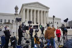 Crowds of mourners and media in front of the Supreme Court building where late Justice Antonin Scalia lays in repose Royalty Free Stock Image