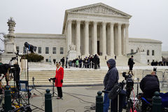 Crowds of mourners and media in front of the Supreme Court building where late Justice Antonin Scalia lays in repose stock images