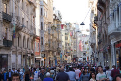 Crowds move through Taksim Square Royalty Free Stock Images