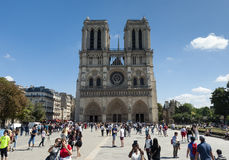 Crowds a the Notre Dame Cathedral - Paris - France Royalty Free Stock Photography