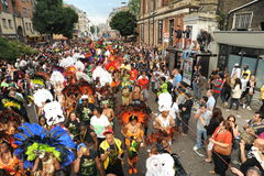 Crowds at Notting Hill Carnival. Photograph of the street parade and crowds at Notting Hill Carnival 2012 Stock Photos