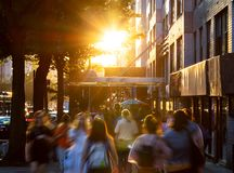 Free Crowds Of Diverse People Walking Down The Sidewalks Of 14th Street With The Bright Light Of Summer Sunset Shining Above In New Stock Images - 158024174