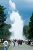 The crowds at Old faithful Stock Photos