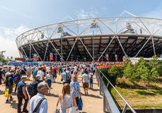 Crowds in the Olympic Park in London Stock Photo