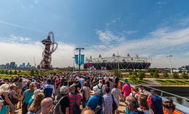 Crowds in the Olympic Park in London Stock Images