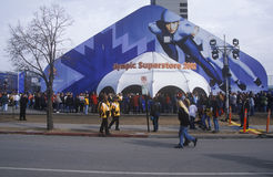 Crowds at Olympic Superstore during 2002 Winter Olympics, Salt Lake City, UT Stock Photos