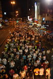 Crowds parading at Wesak Day Procession Stock Images