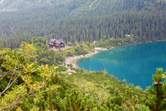 Crowds of people around Morskie Oko lake and Hostel. During summer time Stock Photo
