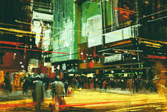 Crowds of people at a busy crossing street. Cityscape painting,crowds of people at a busy crossing street Stock Image