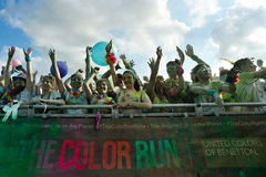 Crowds of people at The Color Run. FIRENZE, ITALYA - JUNE 04: Crowds of unidentified people at The Color Run on June 04, 2016 in Firenze, Italy. The Color Run is Stock Image