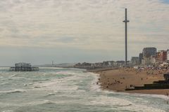 Brighton beach, i360 tower and West Pier, England Stock Photography