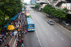 Crowds of people head for Chatuchak market Stock Image