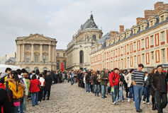 Crowds of People outside the Palace of Versailles Stock Photo