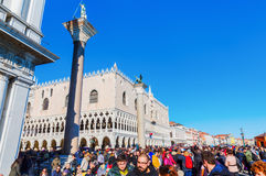 Crowds of people at the Piazzetta in Venice, Italy Royalty Free Stock Photo