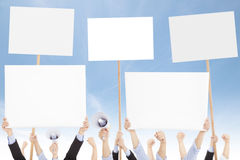Crowds of people protested against social or political issue Stock Photo