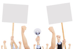 Crowds of people protested against social or political issue. With white board stock image
