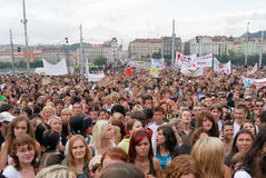 Crowds of people protesting again local ministry policy, Prague main Wenceslas Square royalty free stock photos