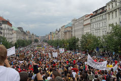 Crowds of people protesting again local ministry policy, Prague main Wenceslas Square royalty free stock image
