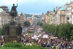 Crowds of people protesting at Prague main Wenceslas Square with an equestrian statue. PRAGUE, CZECH REPUBLIC - JULY 26, 2016: Crowds of people protesting at Stock Photos