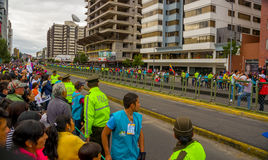 Crowds of people in Quito city street waiting for Royalty Free Stock Photos