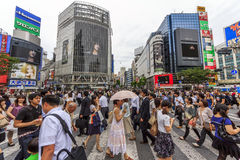 Crowds of people at Shibuya Crossing Royalty Free Stock Photo