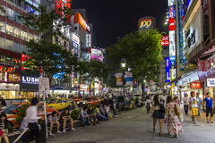 Crowds of people in Shibuya district in Tokyo, Japan. Royalty Free Stock Photos