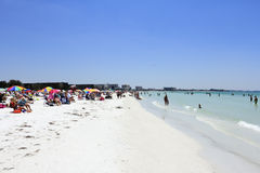 Crowds of People at Siesta Beach Stock Image
