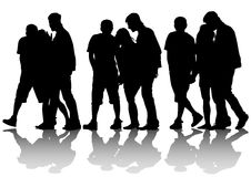 Crowds people silhouette Royalty Free Stock Image