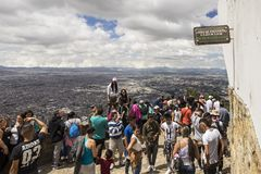 Crowds enjoying the view from a top of Monserrate Stock Image