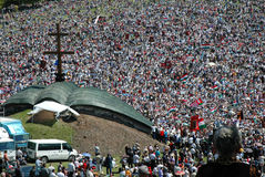 Crowds of pilgrims gathering in Csiksomlyo Stock Photography