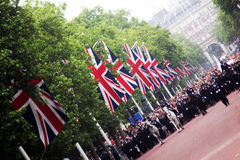 Crowds & Policemen in The Mall Royalty Free Stock Photography