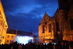 Crowds at a rock concert. Huet Square, Sibiu, Romania - June 1, 2013: Concert during Huet Urban Festival in Huet Square, Transylvania, Romania Royalty Free Stock Image