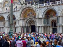 Crowds at Saint Marks Cathedral, Venice Stock Photos