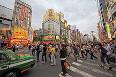 Crowds in shinjuku district, tokyo, Japan Stock Images