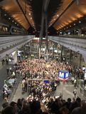 Crowds. On stairs in subway metro station Stock Photo