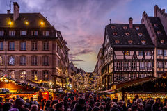 Crowds at Strasbourg Christmas Market Royalty Free Stock Image