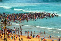 Swimming on the beach in Durban, South Africa