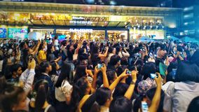 Crowds Taking Photo At Outdoor Concert Royalty Free Stock Photos