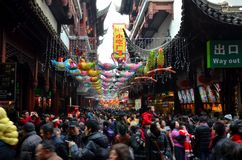 Crowds throng Shanghai Chenghuang Miao Temple over Lunar New Year China royalty free stock photos