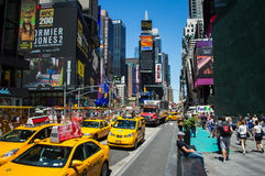Crowds at Time Square in Manhattan Stock Images