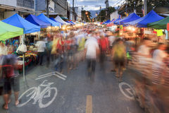 Crowds tourist at chiang mai sunday walking street market. Chiang Mai Thailand royalty free stock photos